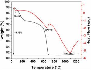 DSC and TGA curves for diatomite powder.
