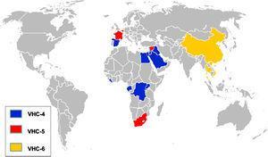 Distribución mundial de los genotipos 4, 5 y 6. Mapa que muestra la distribución de los genotipos 4, 5 y 6 en los países con mayor reporte de prevalencia. En azul, el genotipo 4; en rojo, el genotipo 5, y en amarillo, el genotipo 6.
