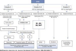 Clasificación de la BCLC (Barcelona Clinic Liver Cancer).