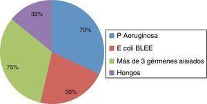 Porcentaje de defunciones de acuerdo con los gérmenes aislados en pacientes del servicio de Cirugía General del HCSAE; en el 75% de pacientes que fallecieron se aisló Pseudomonas aeruginosa. Fuente: Expediente electrónico/SSS-SIAH-Diciembre-2014.
