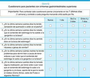 Cuestionario GERD-Q versión español.