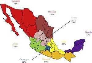 Porcentaje de médicos evaluados por zona geográfica.