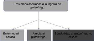 Representación esquemática de los trastornos asociados a la ingestión de gluten/trigo.