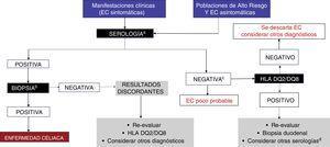 Algoritmo diagnóstico. a Se recomienda realizar IgA, transglutaminasa tisular-IgA y péptidos deaminados de gliadina-IgG mientras los sujetos estén recibiendo una dieta con gluten. b Al menos 4 biopsias de la segunda porción del duodeno y una a 2 de bulbo duodenal. C Decisión de realizar prueba genética debe individualizarse (en la mayoría de los enfermos no será necesaria). d Considerar realización de anti-endomisiales. EMA: endomisiales&#59; PDG: péptidos deaminados de gliadina&#59; tTg: transglutaminasa tisular.