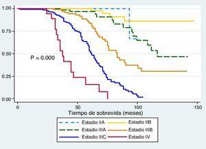 Análisis de sobrevida (Kaplan Meier) según tipo estadio anatomopatológico. P = 0.000.