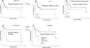 Supervivencia estimada por Kaplan-Meier según las características del tumor. La resección hepática ofreció la mejor supervivencia del paciente. Los pacientes con alfafetoproteína<15ng/ml tuvieron una mejor supervivencia (p<0,05).