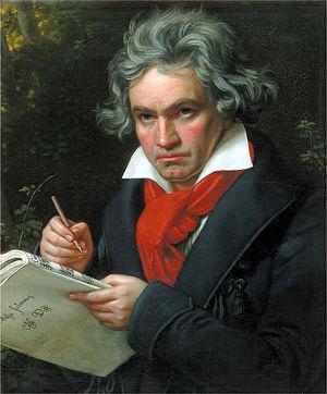 Retrato de Ludwig van Beethoven, trabajando en la composición de la Misa solemne en re mayor, opus 123. Retrato realizado por Joseph Karl Stieler en 1820.