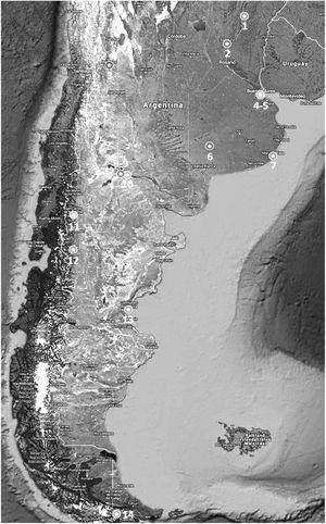Distribución de sitios argentinos que participaron en el estudio. Los sitios de investigación fueron: 1: Esquina, 2: Santa Fe, 3: Mendoza, 4 y 5: Ciudad de Buenos Aires, 6: Coronel Suárez, 7: Mar del Plata, 8 y 9: Neuquén, 10: General Roca, 11: Bariloche, 12: Esquel, 13: Comodoro Rivadavia, 14: Ushuaia.