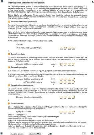 Certificado médico de defunción-Boletín Estadístico de Defunción. Instrucciones básicas de certificación.