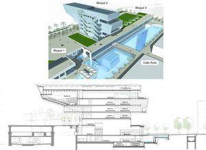 Recreación artística del Centro de Diseño y sección transversal del conjunto.