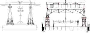 Lanzadoras original y adaptada (con estructuras de arriostramiento entre celosías y puente grúa superior).