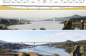 Alzado, fotomontaje y vista del viaducto sobre el río Ulla concluido.