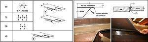 Detalle 4 de la tabla 8.4 de la referencia [7] y vista del extremo de la cartela soldada tangente a la platabanda de un nudo.