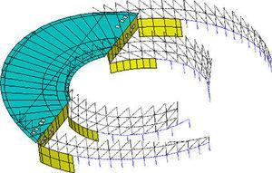 Modelling for below-grade structures: diaphragm walls for trusses and wall beam shown (in yellow), and columns and tie beam (in blue).