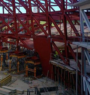 Reinforcing infill on the inner truss.