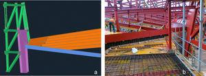 Reinforcing sheet metal on the bottom slab: 3D model simulation (left) and construction photograph (right).