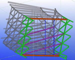 Radial cross-section of the 3D model of the steel structure. The box girder section formed by the façade trusses (green in the diagram) and the bottom and roof structural slabs (orange for beams) is stiffened by diaphragms consisting in the inter-storey beams (purple) and inner tubular columns (blue).
