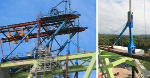 Hoisting a segment with a stationary derrick crane and detail of transverse hoisting beam.