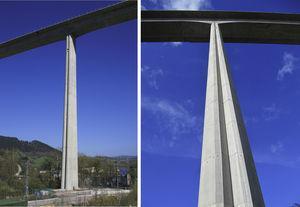 Imágenes de las pilas más altas con el viaducto concluido.
