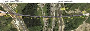 Planta de la solución mixta desarrollada en el proyecto original que proyecta el viaducto en el entorno.