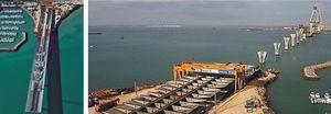 Otras vistas del proceso de empuje del tablero del viaducto al lado del acceso a Cádiz.