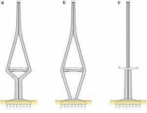 Distintas configuraciones de las torres de atirantamiento.