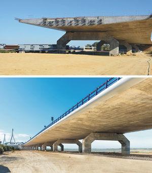 Vista del viaducto de acceso lado Puerto Real, canto 2,00 m.