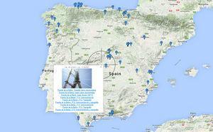 Mapa de acceso web a las estructuras de la plataforma. En la ventana emergente, los enlaces a las diferentes instrumentaciones parciales del Puente de la Constitución de 1812 sobre la Bahía de Cádiz.