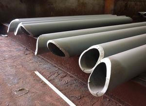 Corte y preparación de bordes en extremos de los tubos que constituyen las diagonales de las celosías.