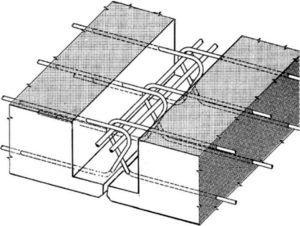 Esquema de unión de losas prefabricadas.