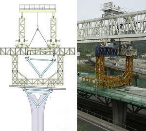 Estructura trasera montada sobre un tablero construido. Esquema en situación de lanzamiento de una celosía y vista real.