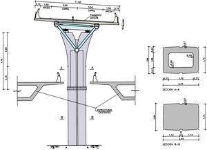 Sección transversal del conjunto formado por el viaducto Bus-Vao y los tableros de los viaductos existentes.