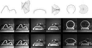 Graphical constructions and collapse sequences of three reduced-scale physical models.
