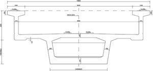 Sección transversal de tablero de doble vía.