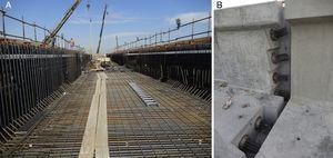 A) Labores de ferrallado. B) Frente de tesado de un puente in-situ.