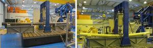 Ensayos estáticos hasta rotura de elementos estructurales: (a) columnas de PRF de carbono&#59; (b) tubos de PRF de vidrio.
