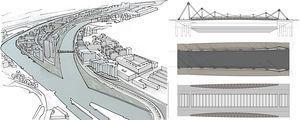 Figura 13 (izquierda). Croquis en el que se refleja la integración de la solución en la futura isla de Zorrotzaurre. Figura 14 (derecha). Alzado, planta y planta espejo del puente.
