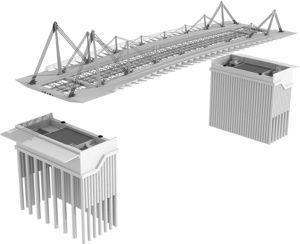 Imagen virtual en la que se muestra la estructura metálica y las cimentaciones del puente.