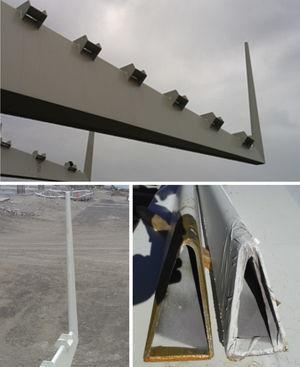 Vistas de una costilla con montante vertical y detalle de chapa plegada.