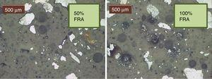 Microstructure of the mortar phase with FRA in percentages of 50% (left) and 100% (right).