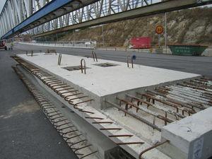 Prefabricated deck slabs.