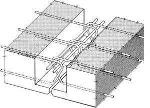 Diagram of the joint in the prefabricated slabs.
