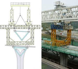 Rear structure assembled on the built deck. Diagram of latticework in launching position and real view.