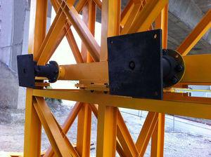 Bumpers fitted with spherical hinges and regulation screw spindle.