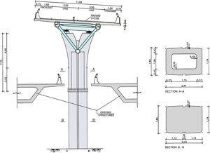 Transverse section of the assembly forming the Bus-HOV Viaduct.
