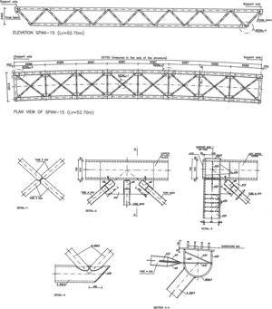 Metal latticework of the span measuring 52.70m. Elevation and plan views plus details of the joints.