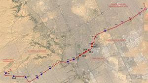 Distribución de estaciones de la línea 3 de Metro de Riad (las estaciones profundas se indican en color rojo).