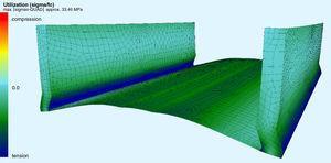 Vista del modelo de elementos finitos de uno de los módulos.
