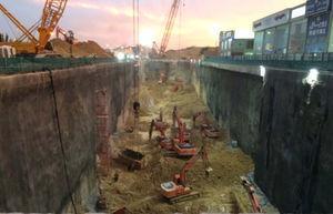 Trabajos de excavación en una estación profunda.