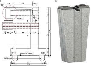 Vista lateral de estribo de empuje (izq.) e isométrica de pila (dcha.).